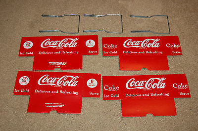 Vintage Coca Cola Cardboard Carrier with Wire Handle (x4)