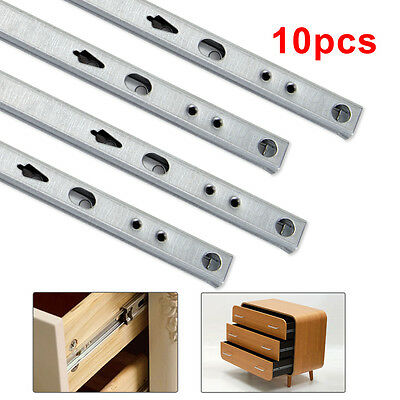 5 Pairs 17MM x 250MM Ball Bearing Drawer Runners For Grooved Sides/Drawers Units