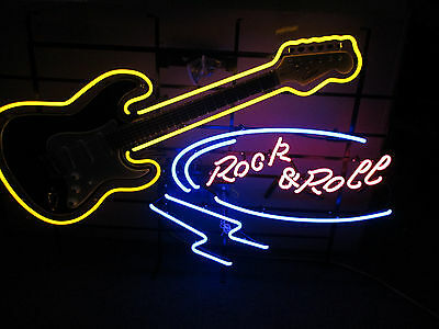 ROCK AND ROLL LARGE  NEON SIGN   with REAL WORKING GUITAR *NEW - JUST ARRIVED**