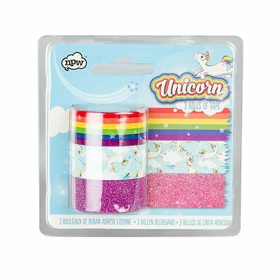 NPW Unicorn Themed Sticky Tapes for Craft Gift Wrapping Set of 3