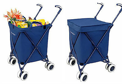 Shopping Cart With Wheels Grocery Laundry Rolling Carts Folding Utility Transit