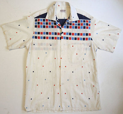 Vintage 50s Rockabilly Print Sport Shirt M Atomic Seersucker Loop Collar