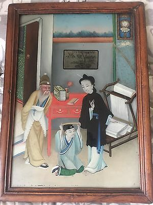 """Antique Chinese Reverse Glass Painting - Family Scene - Beautiful Frame 22""""x16"""""""