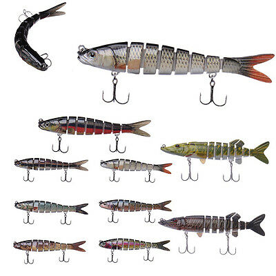 Hot 8 Jointed Fishing Lure Bait Swimbait Bass Pike Life-Like Fishing lures