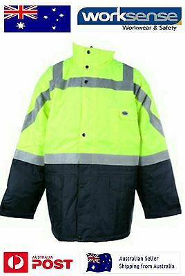 Outdoor World Hi Vis All Weather Work Jacket with Hood Size 6XL Safety 3M Tape