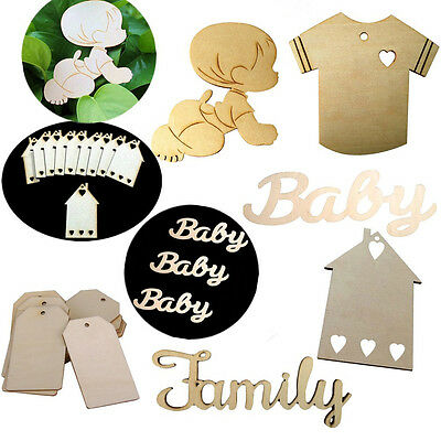 10pcs MDF Wooden House Baby Shape Tags home Decoration Craft Embellishments