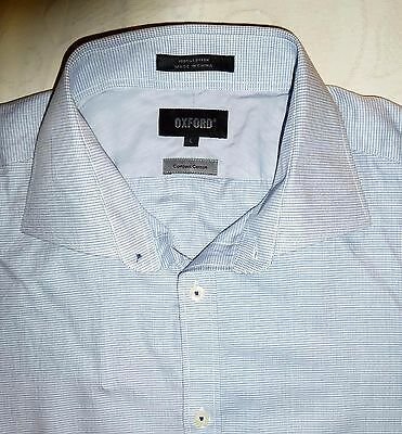 OXFORD Men's Blue Fine Check Double Cuff Slim Fit Shirt Size L - As New