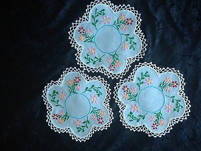 Polish Linen hand embroidered round blue Doilies