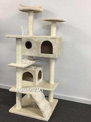 Cat scratcher post tree scratching pole toy plush sisal furniture