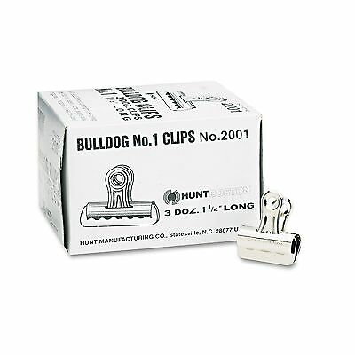 "X-ACTO Bulldog Clips Steel 7/16"" Capacity 1-1/4""w Nickel Plated 36 Per Box"