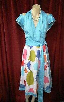 40's Style Blue Harlequin Design Dress Original By Covers.