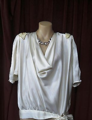 1920's Style Cream Sequined Shoulder Blouse Cowl Neck With Drop.