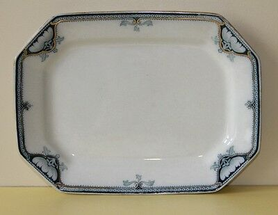 "BURLEIGH WARE Hexagonal  meat plate   Hamilton pattern Blue and white. 10"" x 7"""
