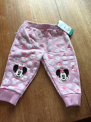 Baby girl Minnie Mouse Pink Track Pants - size 0 - new With Tags