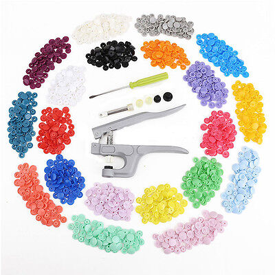 Snap Pliers + 350 Sets 25(T5) Size Snaps Resin Plastic Poppers Button Tool Kit
