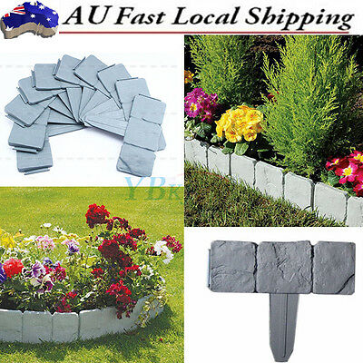 10X Garden Landscape Flowerbed Fence Plastic Stone Edging Border Decorative Tool
