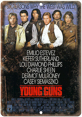 """10"""" x 7"""" Metal Sign - Young Guns Movie Poster -  Vintage Look Reproduction"""