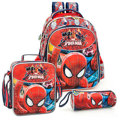 Marvel Spider Man DELUXE 3 Piece School Bundle Set Backpack Lunch Bag RRP49.95
