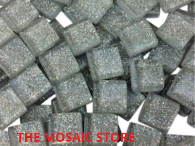 Silver Glitter Glass Tiles 1cm - Mosaic Tie Art & Craft Supplies