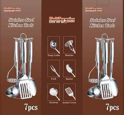 7Pc Stainless Steel Kitchen Tool Set Utensils Stand Spoon Ladle Turner Masher Ip
