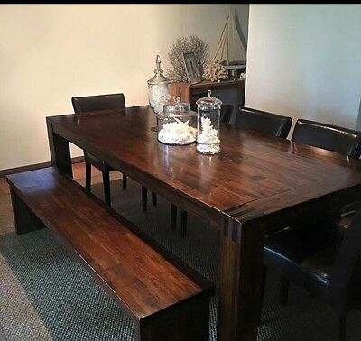 Leather Republic Solid Wood 10 Seater Dining Table With 6 Leather Chairs