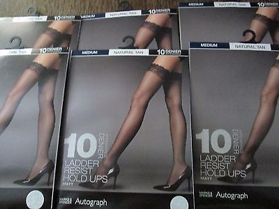 6 Pairs Ex M&s 10 Den Ladder Resist Matt Lace Top Hold Ups Natural Size Medium