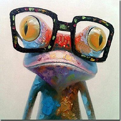Fokenzary Hand Painted Oil Painting Cute Frog on Canvas Stretched and Framed Mod