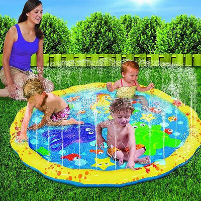 Summer Inflatable Splash Round Water Mat Watering Sprinkler Kids Garden Game