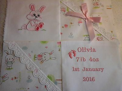 PERSONALISED BABY CUSHION BUNNY DESIGN in PINK or BLUE