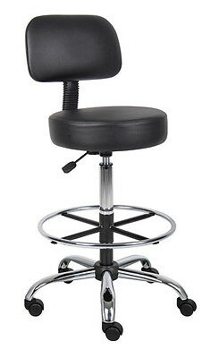 Boss Office Products B16245-BK Be Well Medical Spa Drafting Stool W/ Back Black