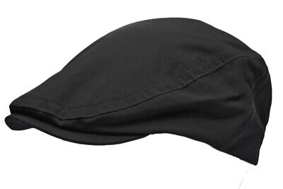 Mens Shower Proof Waterproof Water Resistant Black Flat Cap Country Outdoor Hat