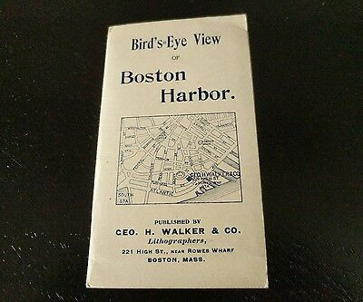Beautiful Antique​ Lithography Bird's Eye View of Boston Harbor Map ~1897