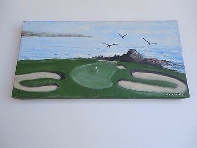 """Golf Oil Painting On Canvas By Listed J.doody 12"""" X 6"""""""