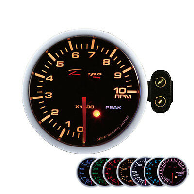Depo Racing 2in Rev counter Display Instrument RPM speedometer warning peak