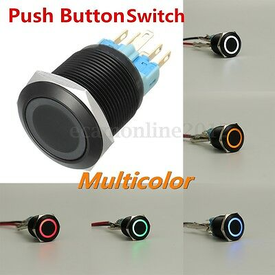 22mm Thread Black Push Button Switch Self-locking Flat Head 6 Pin LED Multicolor