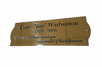 """6""""x2"""" Brass Engraved Plaque/Name plate curved ends.Deep Engraving in Solid Brass"""