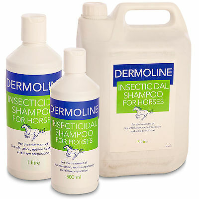 Dermoline Insecticidal Shampoo for Horses 1L or  5L Coat Care Lice Treatment