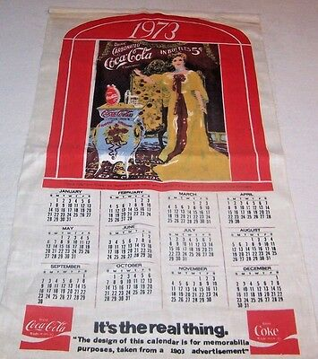 "VINTAGE COCA-COLA 1973 CLOTH LINEN CALENDAR 18"" x 30"" VERY GOOD CONDITION"