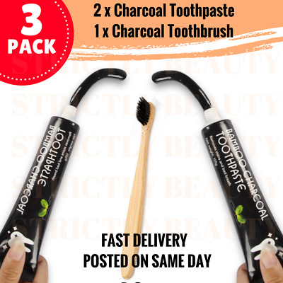 Pro 200g Bamboo Charcoal All Purpose Teeth Whitening Black Toothpaste - 2 PACK