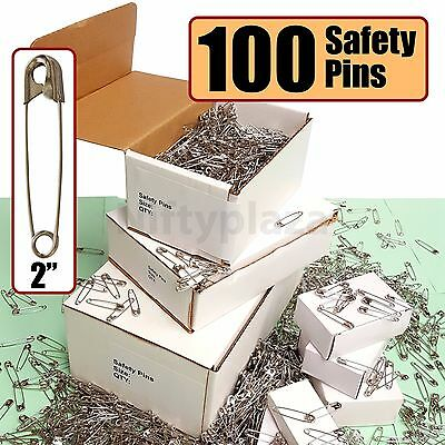 """Extra Large Safety Pins Lot of 100 Brand New Size 2"""" Quilters Crafting Diapers"""