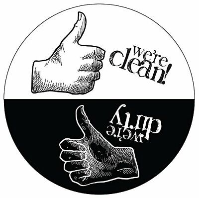 Clean / Dirty Artistic Design Dishwasher Magnet with Thumbs Up / Thumbs Down