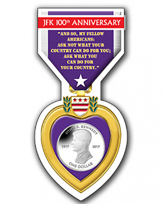 2017 British Virgin Islands John F Kennedy Centenary Birth Coin Purple Heart
