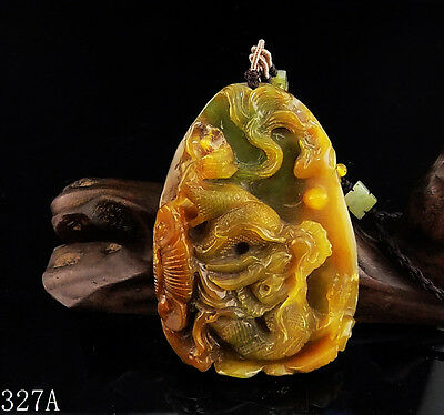 100% Natural Hand-carved Chinese Jade Pendant jadeite Necklace dragon 327a