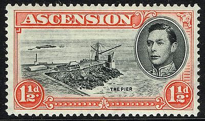 Sg 40 Ascension 1938 - Threehalfpence Black & Vermilion - Mounted Mint