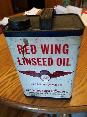 Vintage Red Wing Linseed Oil Can 1 Gallon Newark, N.J. USA Pittsburgh Paint Glas