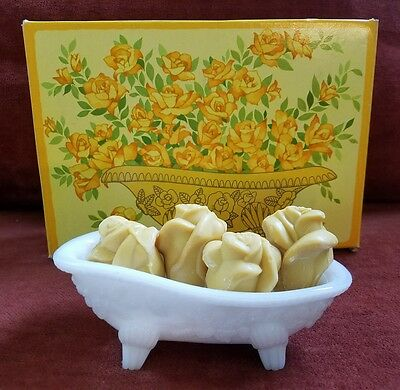 VINTAGE 1970s AVON BEAUTY BUDS YELLOW ROSE SOAPS & MILK GLASS DISH NEW OLD STOCK
