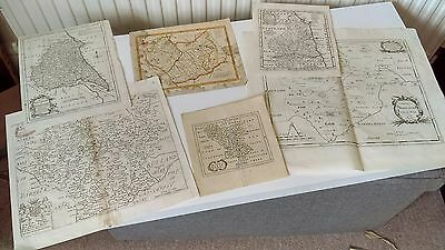 GROUP of SIX ORIGINAL 17th/18thc. ENGRAVED MAPS of ENGLISH COUNTIES, c.1670-1770
