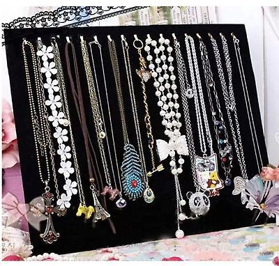 BLK 17 Hook Velvet Necklace Chain Jewelry Display Stand Easel Rack Organizer BA