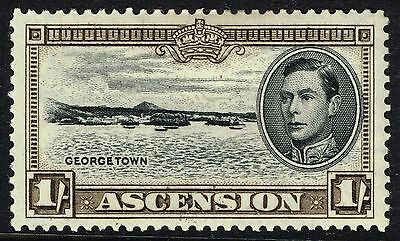 SG 44a ASCENSION 1944 - 1/- BLACK & SEPIA (perf. 13) - MOUNTED MINT