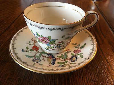AYNSLEY TEA/coffee CUP AND SAUCER PEMBROKE BIRD FLORAL PATTERN TEACUP   FOUR